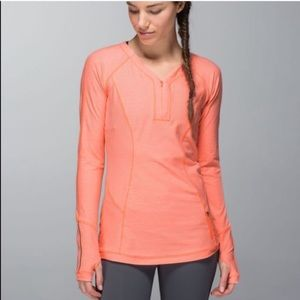 Lululemon | Orange Long sleeves top 1/4 zip up